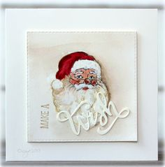 Time flies...soon Santa is coming! :)     Made this card for a challenge at SCS this morning!   Used the sweet Santa from Serendipity Stamp...