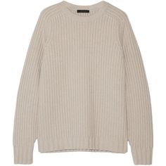 The Row Keyes ribbed wool and cashmere-blend sweater (1 715 AUD) ❤ liked on Polyvore featuring tops, sweaters, beige, pink oversized sweater, woolen sweater, loose fitting tops, ribbed top and beige sweater