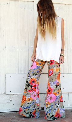 flower print bell bottoms and #ombre hair