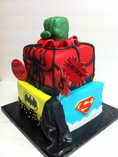 Superhero Birthday Cake. Hulk, Batman, and Superman!