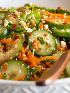 A refreshing flavorful and super easy Asian cucumber and carrot salad asiancucumberandcarrotsalad Cucumber Carrot Salad, Carrot Salad Recipes, Best Salad Recipes, Cucumber Recipes, Asian Recipes, Juicer Recipes, Vegetable Recipes, Vegetarian Recipes, Cooking Recipes