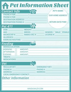 FREE printable Pet Sitter Info Sheet from haveashley.com!