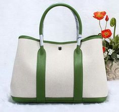839378f4c35 Garden Party 36cm Tote Bag Canvas Green Hermes Garden Party, Leather  Handle, Calf Leather