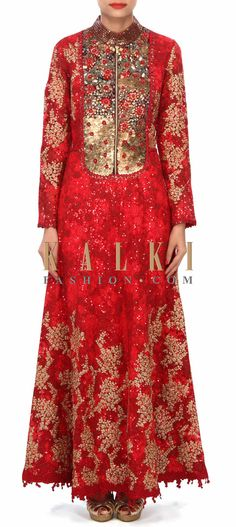 Buy Online from the link below. We ship worldwide (Free Shipping over US$100) Price- $489.00 Click Anywhere to Tag http://www.kalkifashion.com/maroon-anarkali-suit-embellished-in-sequin-and-zari-embroidery-only-on-kalki.html
