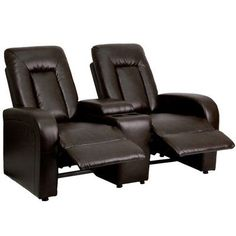Flash Furniture Leather 2 Seat Home Theater Recliner with Storage Console Upholstery: Brown
