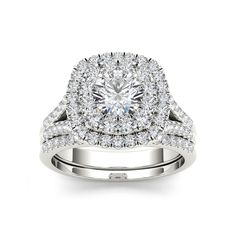 De Couer 14k White Gold 2ct TDW Diamond Halo Engagement Ring with One Band (H-I, I1-I2) | 15% desligar