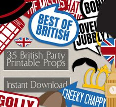 35 British Photo Booth Props, British themed party props, i love london party, best of british photobooth sign, british flag, english props by YouGrewPrintables on Etsy