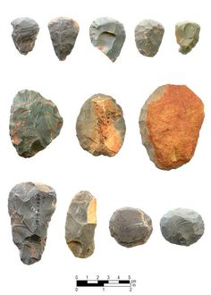 Chipped-stone tools from Late Paleo-Indian and Early Archaic contexts at the Hardaway site: end scrapers (top row), side scrapers (middle row and bottom row, second from left), oval scrapers (bottom row, right two specimens), and Dalton adz (bottom row, far left).