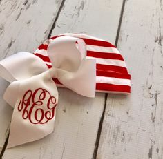 Baby Christmas Monogrammed Bow Beanie Hat - Red and White Stripe Knit Infant Hat with Large Monogrammed Hair Bow by ThePalmettoBaby on Etsy