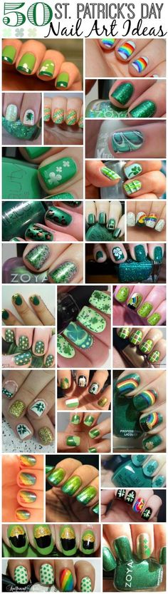 50 St. Patrick's Day Nail Art Ideas. Love the shamrock nails! #AllAboutThatGreen