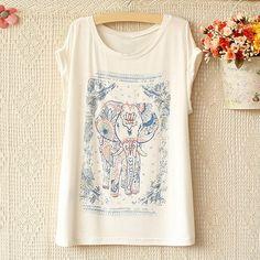 National Style Elephant Pattern Short Sleeve T-Shirt For Women (WHITE,ONE SIZE) China Wholesale - Sammydress.com