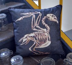 Skeleton pillow of Bird  Organic cotton by MyrteMusee on Etsy, $48.00