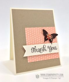 "handmade thank-you card  ... clean and simple design ... vanilla, craft and coral pink with accents in Early Espresso (very dark brown) ... like the double row of piercing around the patterned paper panel ... Early Espresso butterfly with a button and a bow ... luv the big font used for the ""thank you"""" ... lovely card ,... Stampin' Up!"