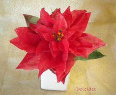 Red poinsettia wafer paper, Stella di natale in ostia