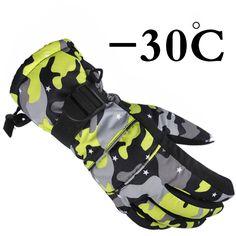 2017 nouveau Arrivent hiver imperméables gants de ski chidlren enfants femmes hommes ski gants coupe-vent respirant Camouflage rose S M L XL