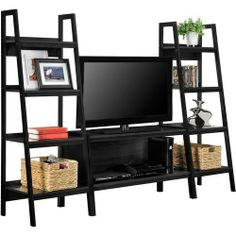 online shopping for Alltra TV Stand + Bookcase Entertainment Console Rack Rear 45 inch 80 lbs TV Shelf from top store. See new offer for Alltra TV Stand + Bookcase Entertainment Console Rack Rear 45 inch 80 lbs TV Shelf Black Entertainment Centers, Entertainment Wall, Entertainment Products, Living Room Furniture, Living Room Decor, Black Furniture, Ladder Bookcase, Black Decor, Decoration