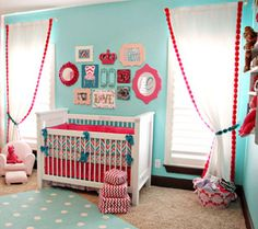 Love the embellishments added to these curtains. Great #DIY instructions. #nursery #decor