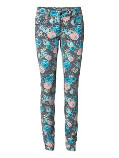 Floral Print Gambler Jeans