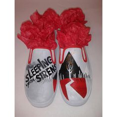 Custom Hand Painted Sleeping With Sirens Slip on Shoes ($65) ❤ liked on Polyvore