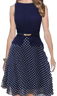 2017 Fashion Womens Summer Vintage Elegant Belted Polka Dot Chiffon Patchwork Tunic Work Office Party Fit and Flare A-Line Dress Vestidos Vintage, Vintage Dresses, Marine Uniform, Beauty And Fashion, Fit Flare Dress, Chiffon Dress, Belted Dress, Pretty Outfits, Plus Size Dresses