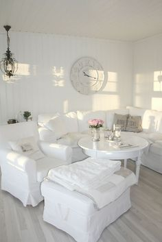 All White Living Room Decor . √ 28 All White Living Room Decor . 15 Serene All White Living Room Design Ideas Rilane Shabby Chic Living Room, Living Room White, Beautiful Living Rooms, White Rooms, Shabby Chic Homes, White Walls, All White Room, White Furniture, Shabby Chic Furniture