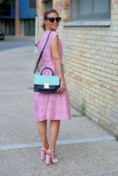 Bryony and Co flamingo dress and Moschino candy sandals