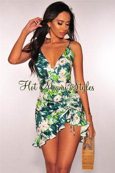 5074d477e1 White Floral Green Palm Print Ruched Dress  49.99 Hair And Makeup Tips