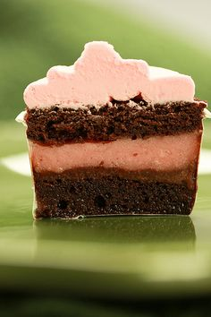 Recipe for Watermelon Chocolate Ice Cream Cupcakes - chocolate cake with watermelon sorbet filling and watermelon buttercream. (would be amazing with strawberry sorbet and a strawberry buttercream too!)