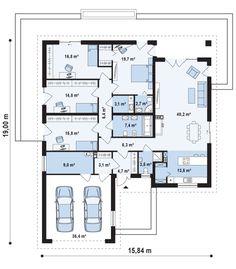 Проект СП 199 - Одноэтажный дом с гаражом, просторной       гостиной и четырьмя большими спальнями.207,40 м²;- компания       СИБИРСКИЙ ДОМ