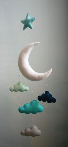 Modern Baby - Mint, Navy, Gray, Moon Felt Mobile with Clouds, Star & Crystal Beads - Handmade - Made To Order - Nursery Decor - Choose Color