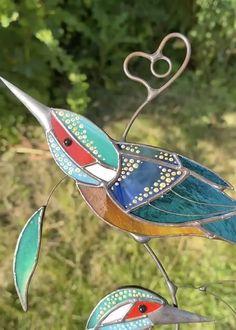 Kingfisher Stained Glass Window Hangings   Yedwo Design