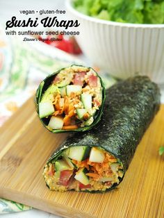 Raw vegan Sushi Wraps are a deliciously light meal for warm summer days. Made with nori seaweed sheets and loaded with veggies and an easy-to-make sunflower seed cheese, they're great for lunch or dinner. This easy recipe is vegan and gluten-free. Raw Vegan Dinners, Easy Vegan Dinner, Raw Vegan Recipes, Vegan Foods, Vegetarian Recipes, Healthy Recipes, Sushi Recipes, Healthy Cooking, Healthy Meals