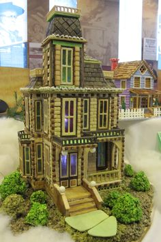 This Victorian house was amazing, The artist cuts and bakes the miniature bricks separately and then adds them to the house.