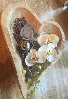 Holz Schale Herz mit Orchidee