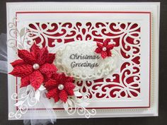 Participate In Craft: Wednesday Weekly Card Giveaway using Sue Wilson dies Christmas Card Crafts, Christmas Cards To Make, Christmas Tag, Xmas Cards, Handmade Christmas, Holiday Cards, Christmas Poinsettia, Christmas Greetings, Poinsettia Cards