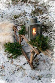 christmas sled and lantern Christmas Sled, Primitive Christmas, Country Christmas, Outdoor Christmas, Winter Christmas, Vintage Christmas, Christmas Crafts, Christmas Decorations, Nordic Christmas
