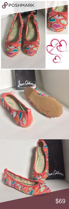 Coral Lip Suede Flats Sam Edelman NIB 6 1/2 M & 9M Lip-shaped appliqués add delectable style to a sleek suede skimmer that everyone's sure to talk about. Suede and synthetic upper/leather lining/synthetic sole. Sizes available 6 1/2 M & 9 New in box. Sam Edelman Shoes