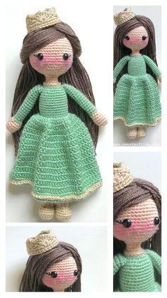 Crochet Amigurumi Free Patterns, Crochet Doll Pattern, Cute Crochet, Crochet Yarn, Crochet Sole, Crochet Princess, Crochet Disney, Amigurumi Doll, Crochet Projects