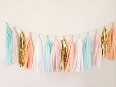 Mint, Peach Blush, and Gold Tassel Garland Banner - 17 Tassel Party Decor, Wedding Decor, Birthday Party, Photo Backdrop, Baby Shower