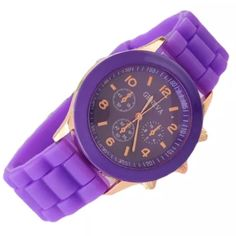 Type: Wristwatches   Watch movement:Quartz movement Color: Purple and rose gold Belt material: slicone Dial Material Type:Stainless Steel Accessories Watches