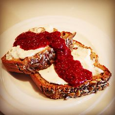 Buckwheat toasted, raspberry chia jam and ricotta. A great way to add a little sweetness to my day. #iqs #IQS8WP #iqsjerf #buckwheatloaf #raspberrychiajam #jam