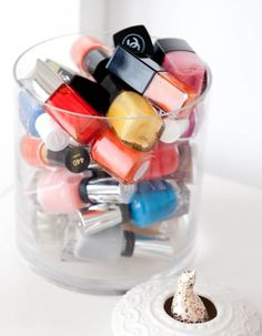 I like this idea for storing lipstick and nail polish.