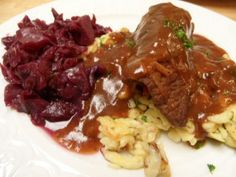 Beef Rouladen with Spätzle and Red Cabbage - wonderful German comfort food