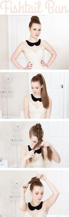 Fishtail Braid Bun Hair Tutorial fishtail bun – Bobby Glam Blog