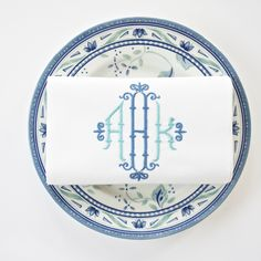 Chippendale style monogram in one or two colors.