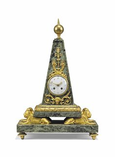 date unspecified AN EMPIRE ORMOLU-MOUNTED VERT DE MER MARBLE OBELISK STRIKING CLOCK EARLY 19TH CENTURY, IN THE MANNER OF VALADIER Price realised  GBP 5,625