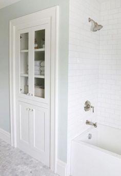 simple bathroom solutions that make a statement bathroom renovations, storage ideas, diy plans Bathroom Closet, Bathroom Storage, Bathroom Interior, Master Bathroom, Master Shower, Shower Bathroom, Closet Storage, Hallway Closet, Laundry Storage
