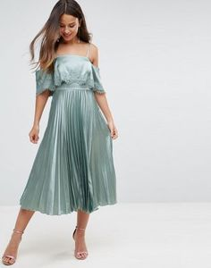 ASOS Satin Pleated Cami Lace Trim Crop Top Midi Dress