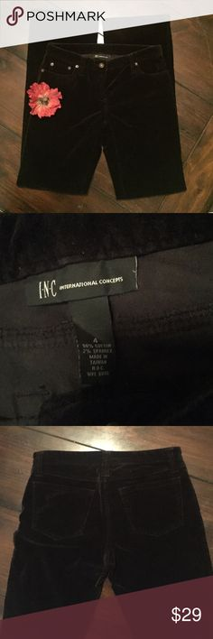 """INC Velour Pants Black Velour INC Brand Awesome Pants. Length 33"""". I wore with plateforms INC International Concepts Pants Trousers"""
