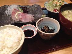 """Japanese Food """"Sashimi-Teishoku""""(= set meal of fresh raw fish slices)"""